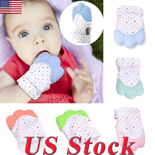 US Baby Kid Safe Fingers Teether Molar Gloves Soft Teething Mitten Silicone Toys