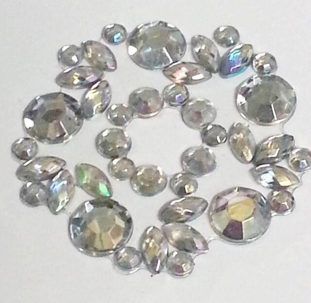 CB032- AB Clear FLOWER Stick on Self Adhesive Diamante Crystal Rhinestone Gems