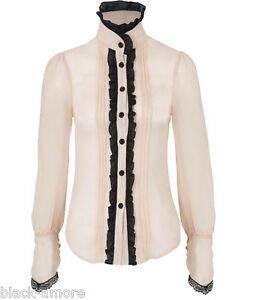 VICTORIAN-STEAMPUNK-IVORY-LACE-SHIRT-TOP-BLOUSE-BLACK-COLLARED-RUFFLE-JAWBREAKE