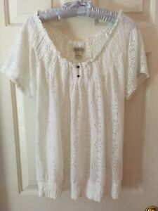 Lucky-Brand-Boho-Cream-Lace-On-or-Off-the-Shoulder-Top-1X-Pre-owned