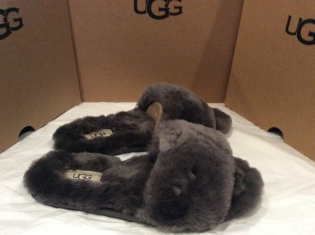 New in box Womens Ugg Fluff slide slipper Grey size  7 Slip On Slides Wool fur