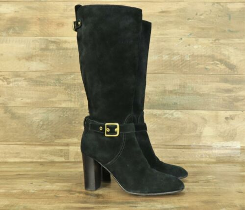 COACH Robynn 7.5 B Knee High Black Suede Leather G