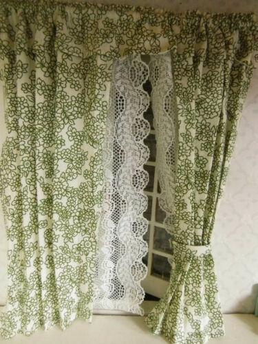 Nostalgische Miniatur-Doppel-GARDINE//Store,1:12,Puppenstube,creme-grün,L=19cm