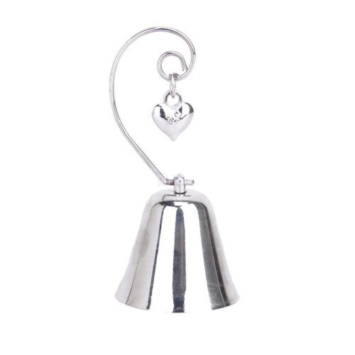 10 Silver Kissing Ringing Bell Name Card Holder Heart Wedding bomboniere gift