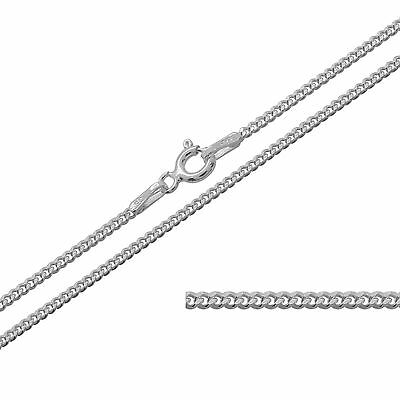Solid 925 Sterling Silver 1.1 mm Curb Chain Necklace Various Length