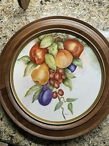 Hand-Painted-Porcelain-Framed-Wall-Plaque-Ana-Reina-12-5-034-Still-Life