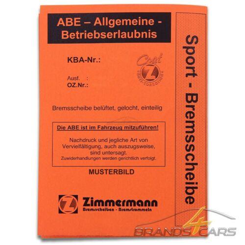 ZIMMERMANN 2x SPORT-BREMSSCHEIBE Ø288 VORNE FÜR MERCEDES SLK R171 200 BJ 04-11