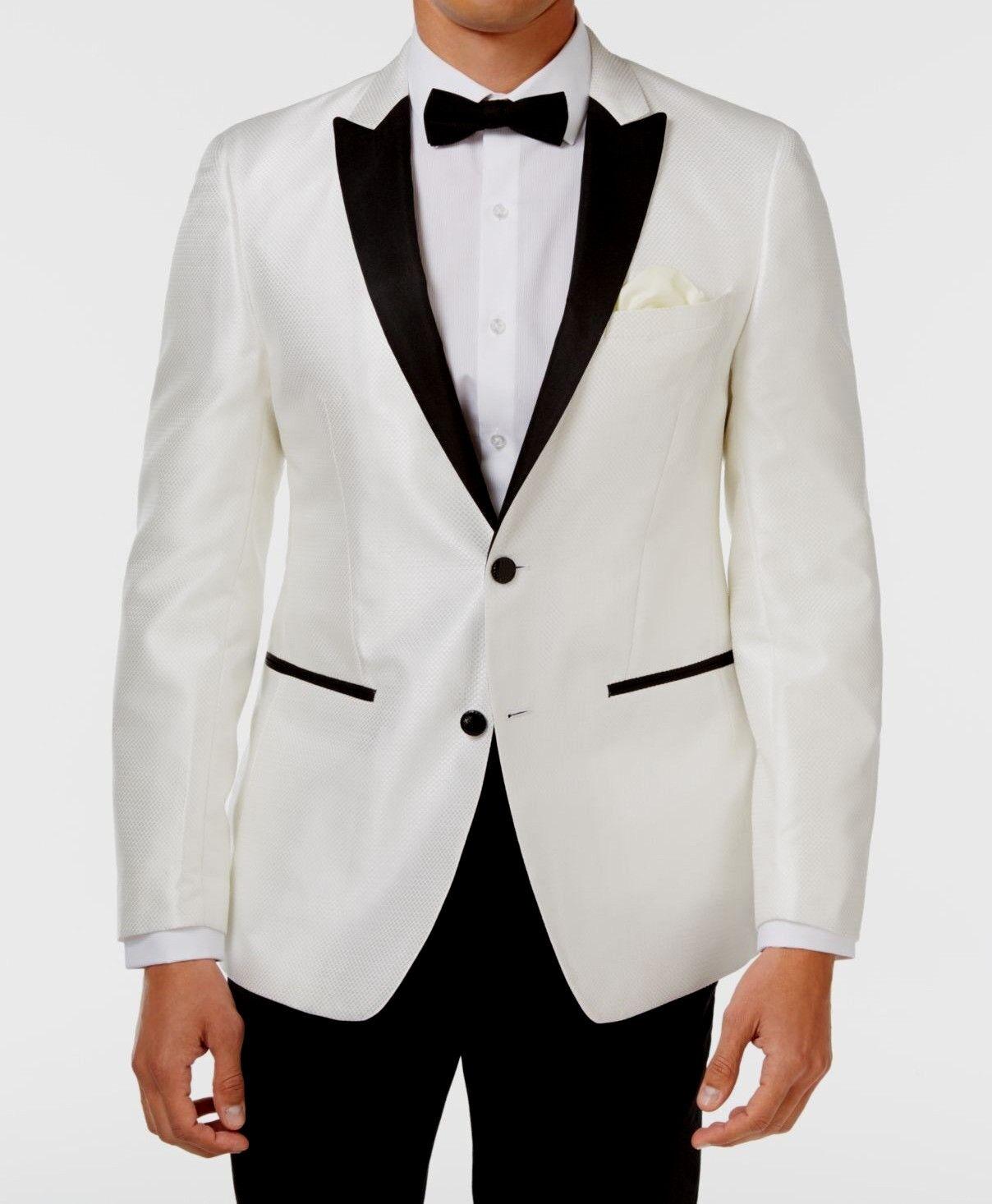 NEW Tallia Men Vogue Contrast Trim Sport Weiß Coat Blazer Größe 42 Long RTL 350