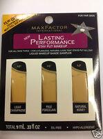 Max Factor Lasting Performance Liquid Makeup Shade Sampler For Fair Skin.