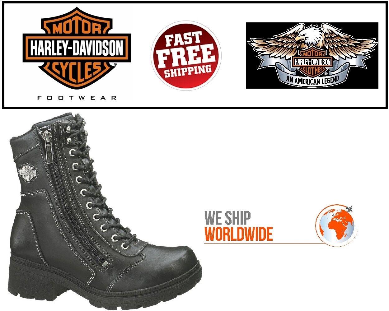 Harley-Davidson Femme D85262 6  Tessa Lacets Noir Moto Bottes en cuir