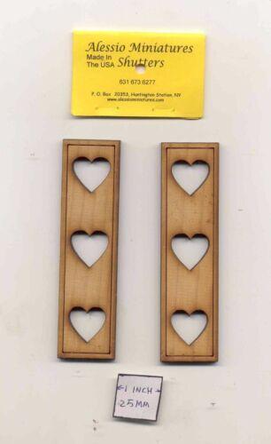 Shutters Hearts - dollhouse miniature 1:12 scale  unfinished wood   2001 USA