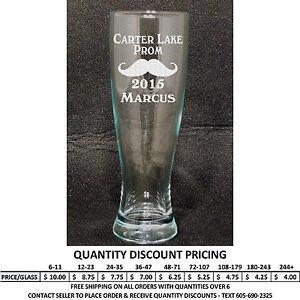 personalized 23oz pilsner glass custom engraved glasses formal dance