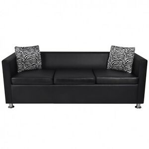 Black Faux Leather Sofa Pillows Set Sleeper Couch Home Office