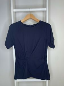 New-Women-s-M-Ann-Taylor-Blouse-Navy-Blue-Short-Sleeve-Scoop-Neck-Ruched-Zip