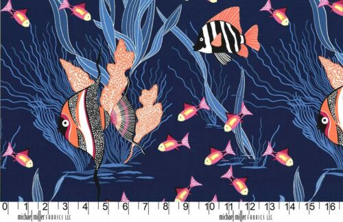 SEASCAPE FISHTOPIA Michael Miller fabric cotton tropical coral fish ocean sea