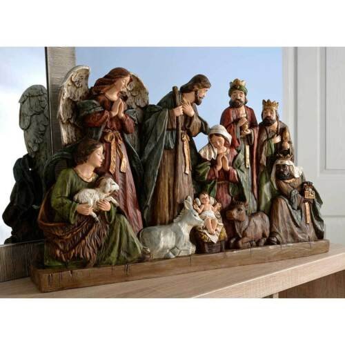 Hand Painted Nativity Holy Family Scene Christmas Decoration Large Multi-Colour