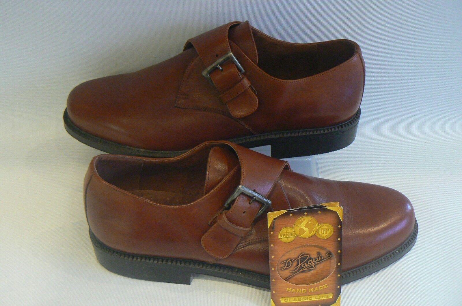 CALZADOS D PAQUIS Handmade Tan Cuir Moine Chaussures Taille 11 46
