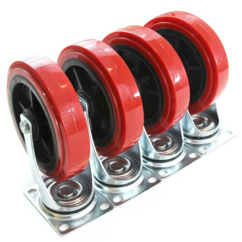"4 Heavy Duty Caster Set Huge 8/"" Wheels All Swivel Red Non Skid No Mark"