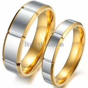 Gold-and-Silver-Two-Tone-Stainless-Steel-Love-Engagement-Ring-Wedding-Band