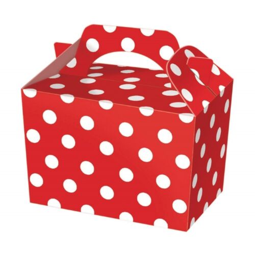 Red Polka Dot Food Boxes ~ Spotty Loot Lunch Meal Box ~ Birthday Party Plate