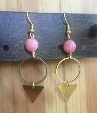 Handmade Summer Earrings Pink Jade Bead & Brass Triangle Circle Gold Plated hook