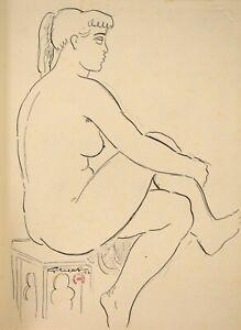 Lucien-Gibert-1904-1988-Akt-Weiblich-Zeichnung-Kirmes-Mit-Sterne-1953-Maillol