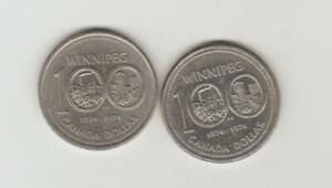 1974 Canada Nickel Dollar - Winnipeg Centennial Variety 2 and regular