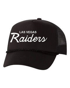 d62d2d243b77a Image is loading Las-Vegas-Raiders-Script-Custom-Trucker-Snapback-Hat-