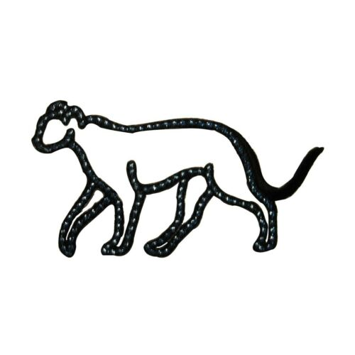 ID 3567 Speckled Black Panther Outline Patch Wild Embroidered Iron On Applique