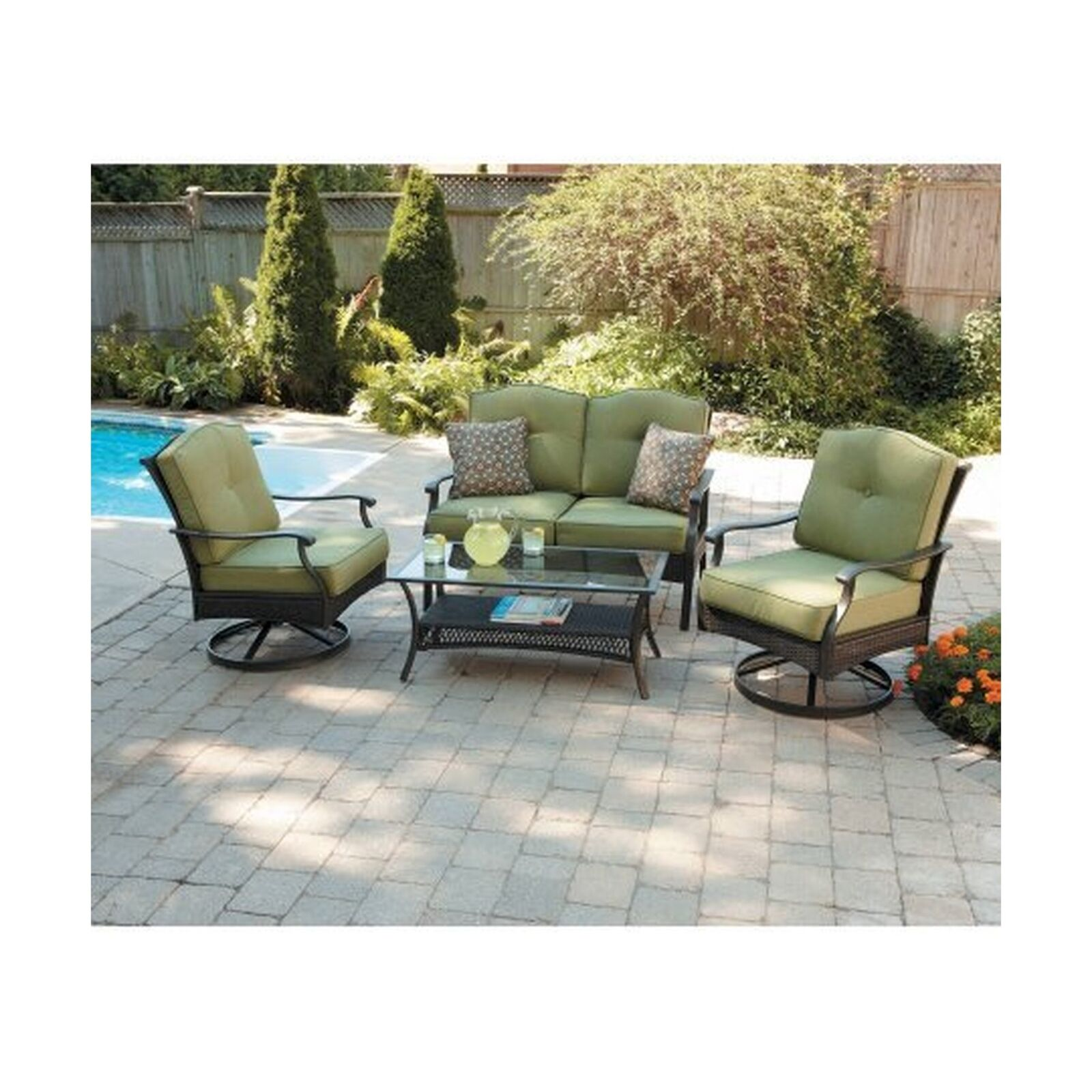 Table Chair Loveseat 4pc Outdoor Patio