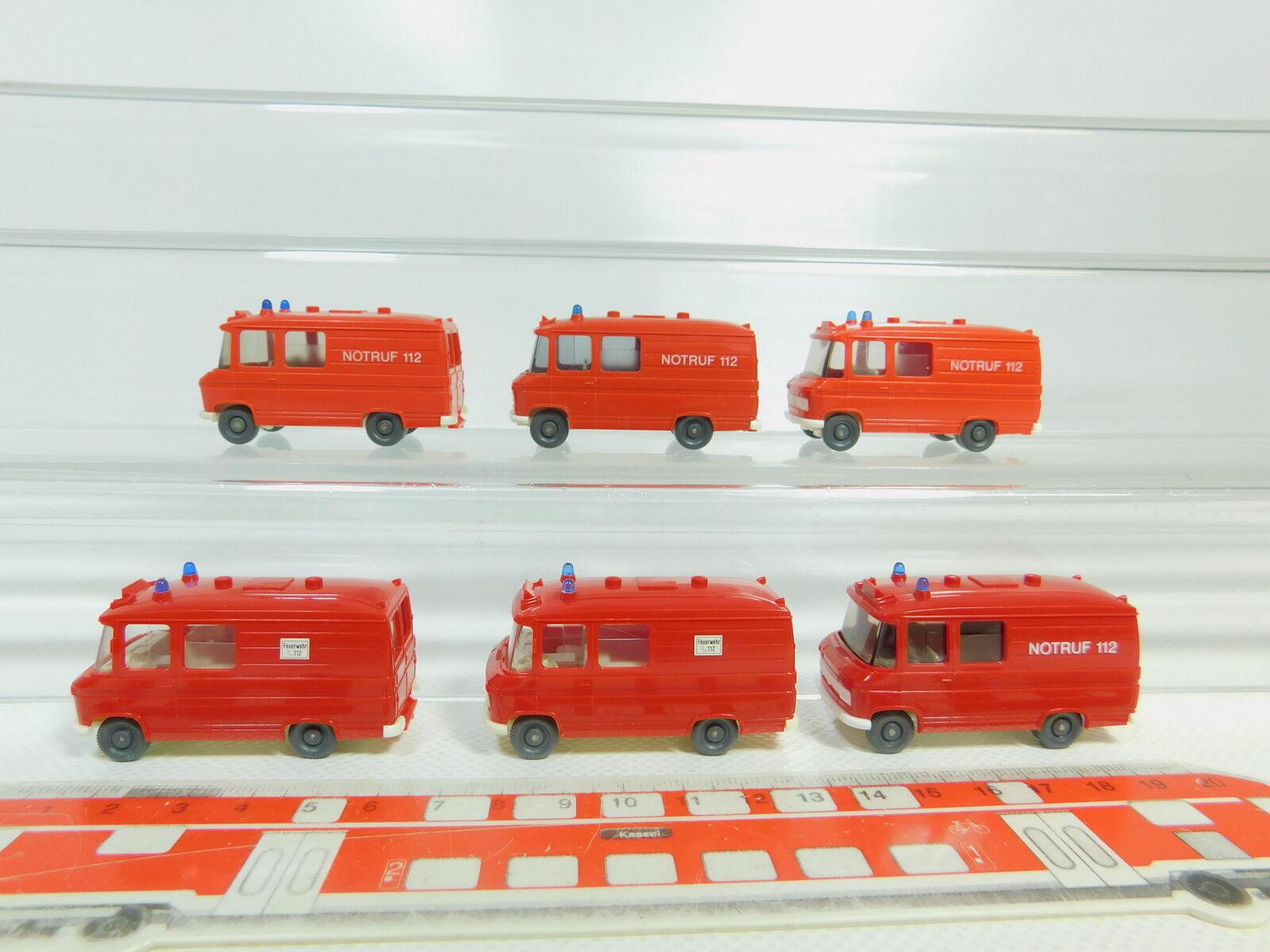 Bo546-0,5   6x wiking h0   87 trasportatore mercedes l 406   l406 fw   pompieri, s.g