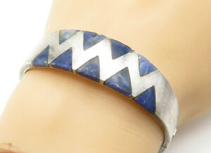 TAXCO-MEXICO-925-Silver-Vintage-Sodalite-Inlay-Pattern-Bangle-Bracelet-B6261
