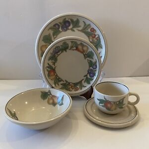 Vintage Epoch Wholesome Stoneware Fruit 5-piece Place Setting Plate Bowl Cup