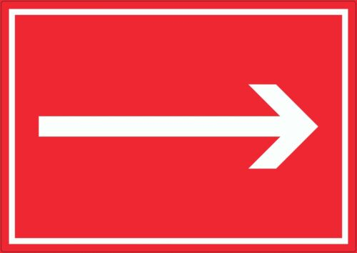 Richtungspfeil rechts Aufkleber waagerecht weiss rot Pfeil