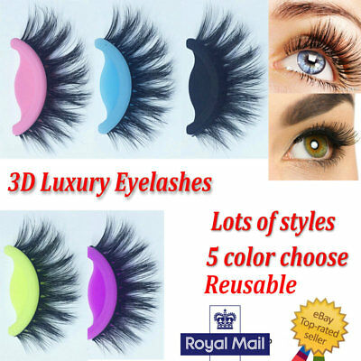 9a634e32c17 Details about 💖3D Luxury Colorful False Lashes Long Thick Natural Wispy  Fake Eyelashes Mink💖