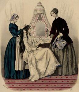 Magasin-des-familles-Coiffure-Coiffeuse-Mode-Gravure-ancienne-originale