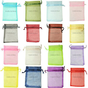 Premium-ORGANZA-Wedding-Favour-GIFT-BAGS-Jewellery-Pouches-Many-Sizes-20-Colours