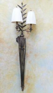 Wandlampe-Lampe-2-armig-Schmiedeeisen-antik-Look-wie-in-Italien-PQ019-a