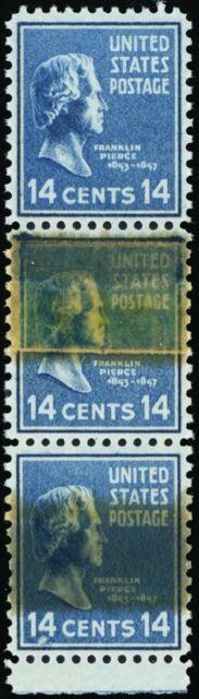 819, RARE 14¢ Tape Splice Strip of Three Stamps Mint NH - Stuart Katz