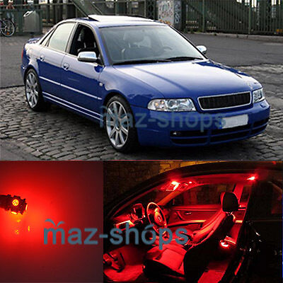 Red 14 Pieces LED Lights Interior Package Kit Fit 96-01 Audi A4 S B5 SEDAN AVANT