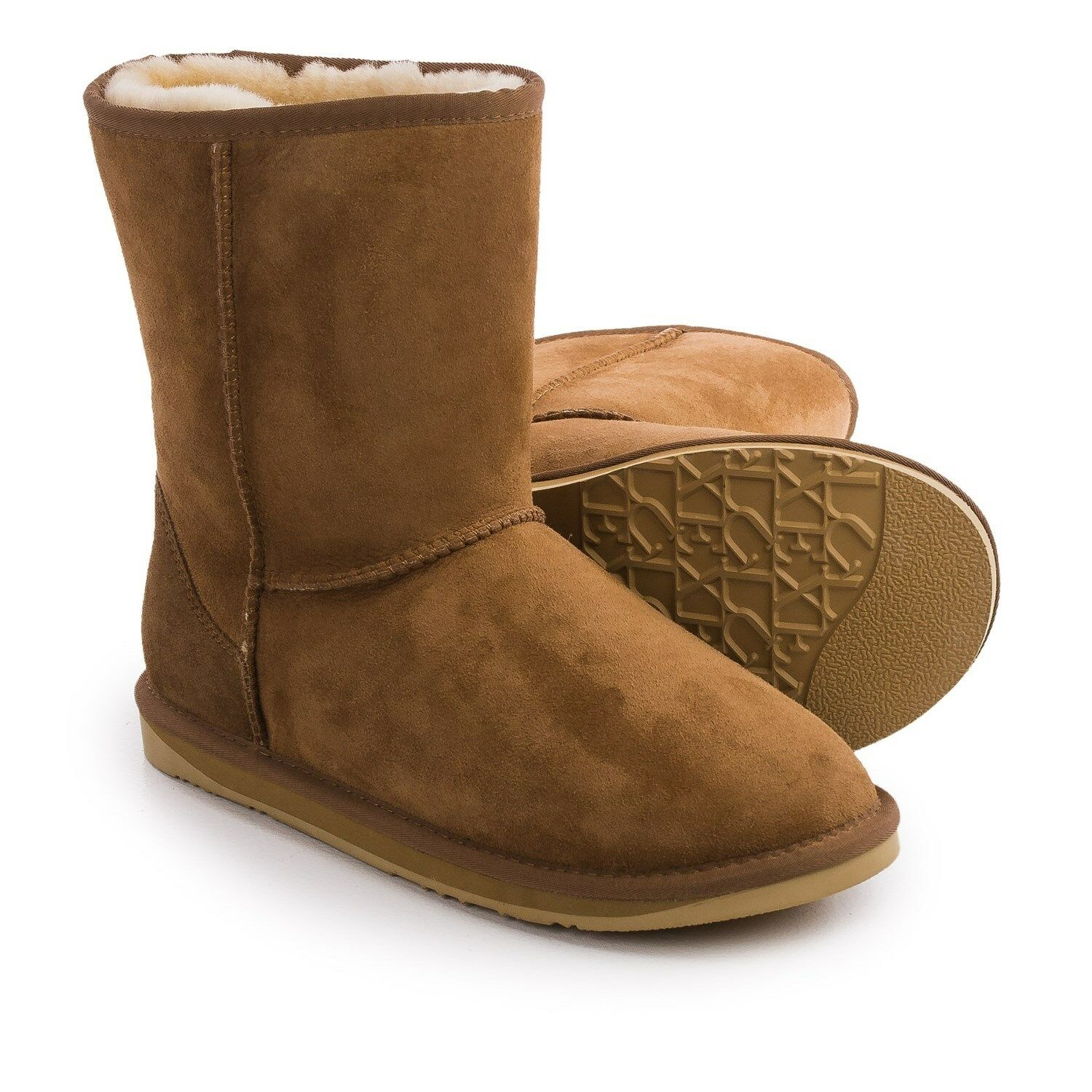 New Mens Australia Luxe Collective Cosy Short Boots Sued Sheepskin Tan Brown 7UK
