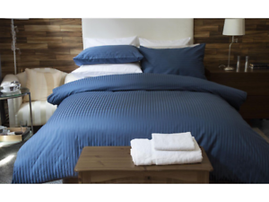 Belledorm-540-hilos-de-algodon-egipcio-Saten-a-Rayas-Ropa-de-cama-en-Azul-Marino