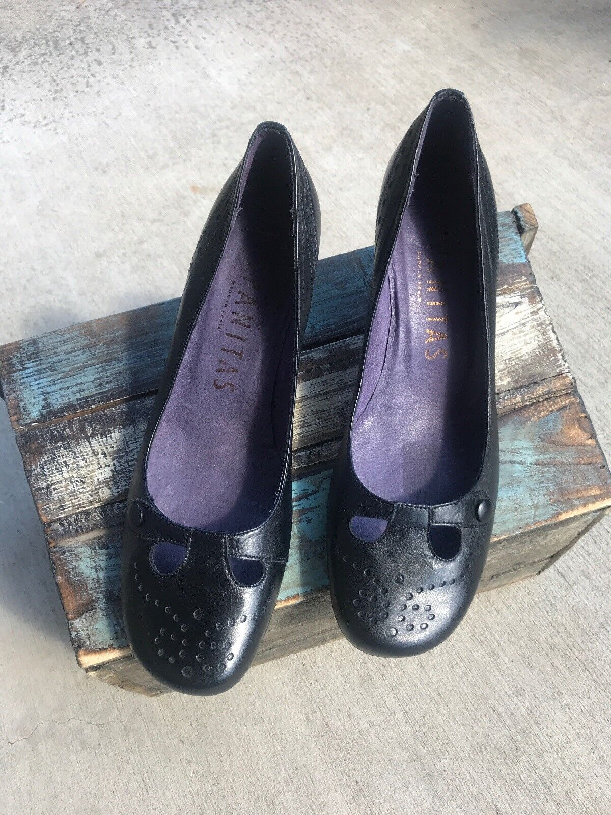 Hispanitas 40 Old Testa Black Rich Leather Kitten Heels shoes  170
