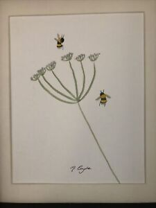 Bumble Bee On Cow Parsley, Original Watercolour Painting, Signed, Cottage, Gift