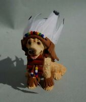 DOLLHOUSE MINIATURE ~ GOLDEN RETRIEVER WITH INDIAN HEAD DRESS ~ HANDMADE 1:12