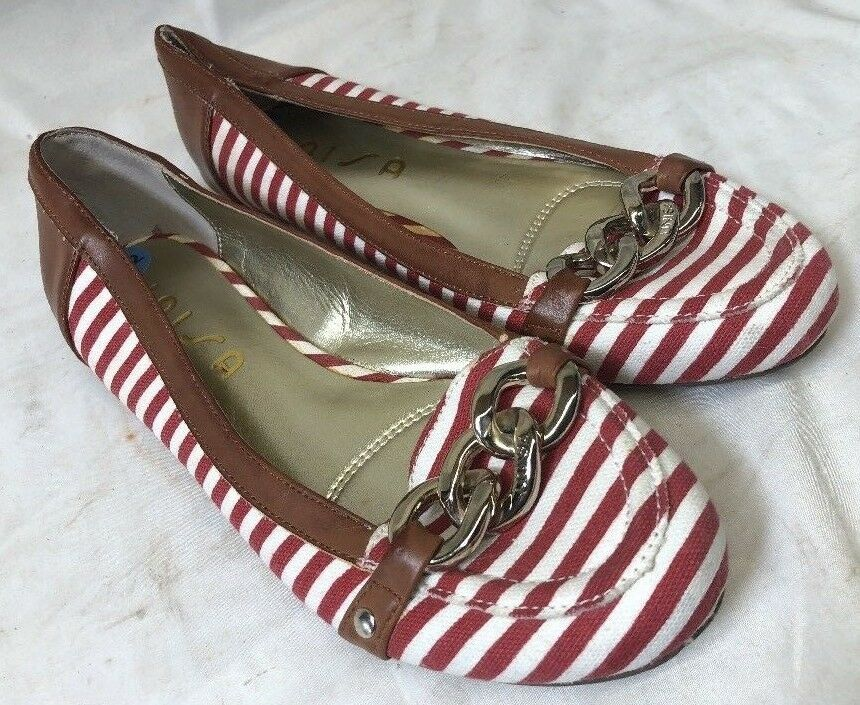 Unisa Slip On Sandals Candy Cane Stripes Sz 7.5m Spain - New