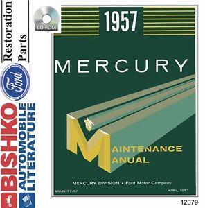 1957 Mercury Shop Service Repair Manual CD Engine Drivetrain Electrical OEM
