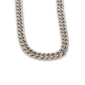 Estate-10ct-Diamond-18k-White-Gold-8mm-Wide-Curb-Link-Chain-Necklace