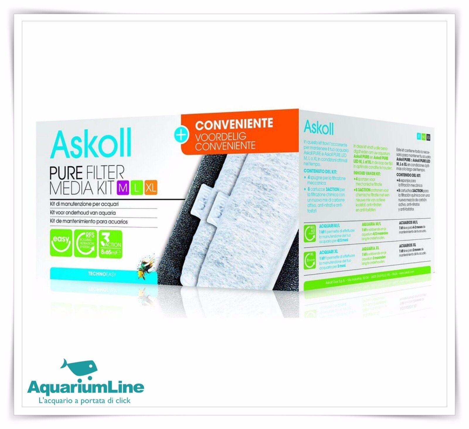 Askoll Pure Filter Media Kit M L XL Formato Convenienza  Ricambio filtri