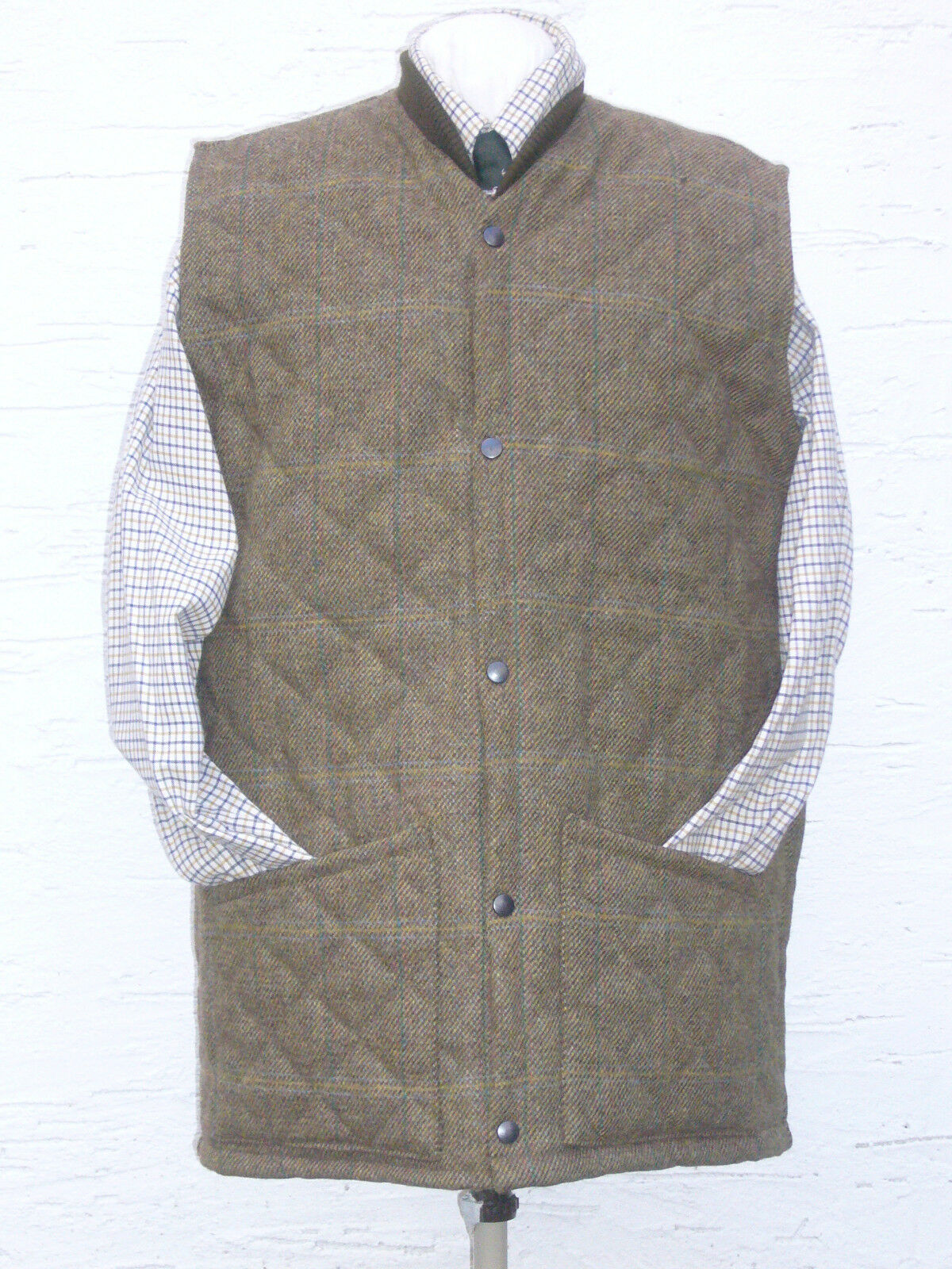 QUILTED TWEED  VEST WOOL  POPPED  FRONT SHOOTING HUNTING COUNTRYWEAR SIZE MEDIUM